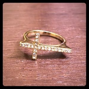 4/$10 Sale!!  Gold Cross Ring